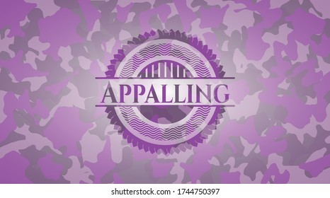 Appalling pink and purple on camo pattern. Vector Illustration. Detailed.