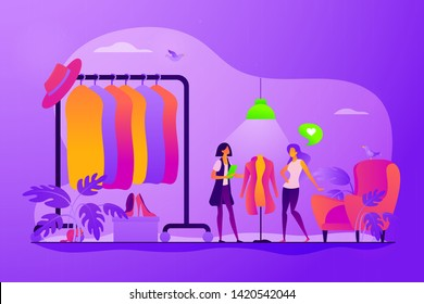 Apparel designer, shopper and seller consultant. Vogue industry, wardrobe update. Fashion house, clothing design house, fashion production concept. Vector isolated concept creative illustration