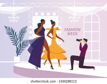 Apparel Model Photoshoot Flat Vector Illustration. Cameraman Ladies in Evening Gowns Cartoon Characters. Photographer Profession, Man with Camera Taking Photo. Women Fashion Show Shooting