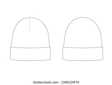 Apparel models template of a hat. Simple technical drawings Isolated on white of accessoires. Fashion outline vector sketch for design. Set of front and back sides.