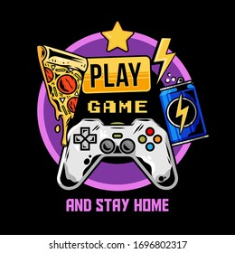 Apparel print design for gamer and geek culture with gamepad joystick for games pizza energy drink and with quarantine isolation style message