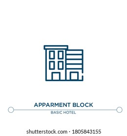 apparment block vector line icon. Simple element illustration. apparment block outline icon from basic hotel set concept. Can be used for web and mobile