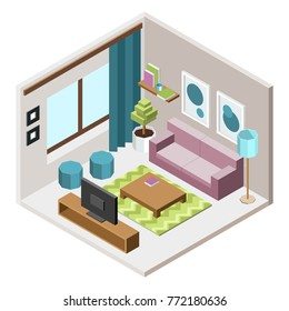 appartment design low poly illustration
