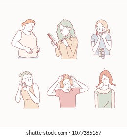 Appearance complex girls. hand drawn style vector doodle design illustrations.