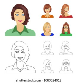 The appearance of a woman with a hairdo, the face of a girl. Face and appearance set collection icons in cartoon,outline style vector symbol stock illustration web.