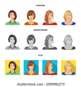 The appearance of a woman with a hairdo, the face of a girl. Face and appearance set collection icons in cartoon,flat,monochrome style vector symbol stock illustration web.