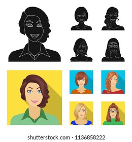 The appearance of a woman with a hairdo, the face of a girl. Face and appearance set collection icons in black, flat style vector symbol stock illustration web.