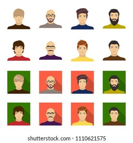 The appearance of the young guy, the face of a bald man with a mustache in his glasses. Face and appearance set collection icons in cartoon,flat style vector symbol stock illustration web.