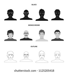 The appearance of the young guy, the face of a bald man with a mustache in his glasses. Face and appearance set collection icons in black, monochrome, outline style vector symbol stock illustration web.