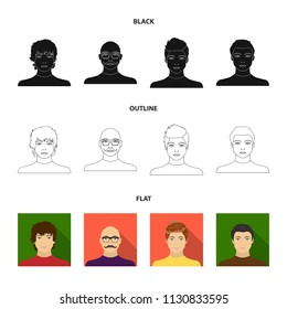 The appearance of the young guy, the face of a bald man with a mustache in his glasses. Face and appearance set collection icons in black,flat,outline style vector symbol stock illustration web.
