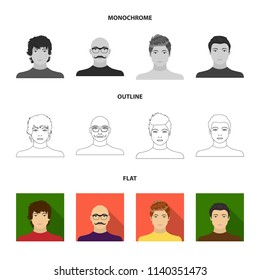 The appearance of the young guy, the face of a bald man with a mustache in his glasses. Face and appearance set collection icons in flat,outline,monochrome style vector symbol stock illustration web.