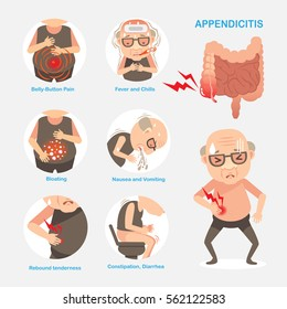 Appendicitis digestive organs, Causes and symptoms of appendicitis. Vector cartoon illustration.