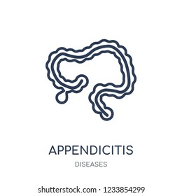 Appendicitis icon. Appendicitis linear symbol design from Diseases collection. Simple outline element vector illustration on white background