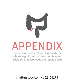 Appendicitis. Inflammation of the appendix. Vector icon for web graphic.