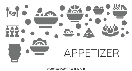 appetizer icon set. 11 filled appetizer icons.  Collection Of - Salad, Dried fish, Mayonnaise, Nachos, Bitterballen