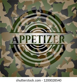 Appetizer on camo texture