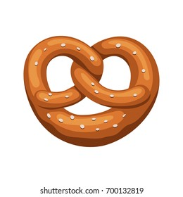 Appetizing Bavarian pretzel icon. Vector illustration in cartoon style isolated on white background