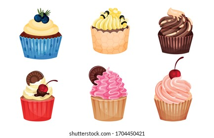 Appetizing Cupcakes with Whipped Cream and Berry on the Top Vector Set