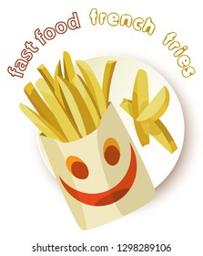 Appetizing french fries in a smiling envelope on a plate. Transparent background and inscription