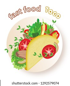 Appetizing tacos with vegetables and meat on a plate. Transparent background and inscription