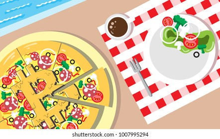 Appetizing Vector Bitcoin piece of pizza financial system. Luxurious life businessman with a blue pool, delicious food, coffee. Crypto currency hype vector illustration with blank space. Minimal