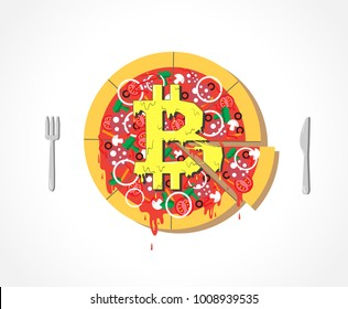Appetizing Vector Bitcoin Pizza icon with cheese, financial system. Delicious food, fork and knife on simple white background isolated. Crypto currency hype illustration with blank space. Minimal