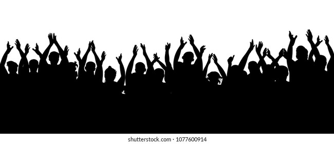 Applause audience. Cheerful mob fans applauding, clapping. Crowd people cheering, cheer hands up. Party, concert, sport. Vector silhouette