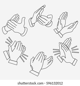 Applause clapping hands set. Congratulation, two hands. Linear design vector