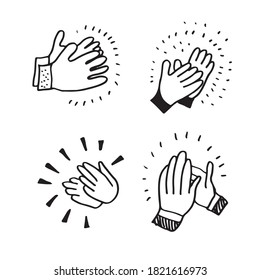 Applause hand draw on white background.vector illustration.