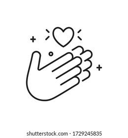 Applaus Ikone im Stil mit Dankeschön. Hände mit Herz.