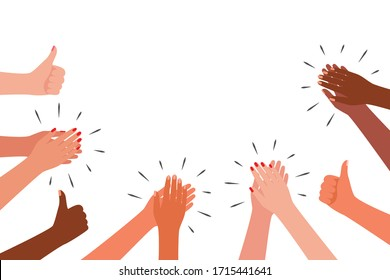 Applause and like group of people. Hands multicultural clap. Congratulations, cheering, thanksgiving, thanks, good, best, winner. Vector illustration