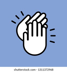 applause, line icon. vector illustration. two hands, a standing ovation, success.