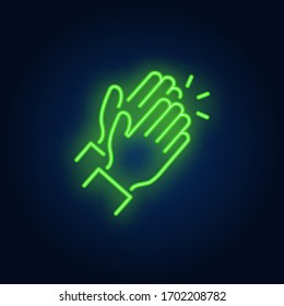 Applause neon sign. Glowing neon two clapping hands on brick wall background. Vector illustration can be used for gesturing, communication, chatting