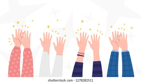 Applause. People hands clapping. Celebration, congratulations, ovations background. Cute simple cartoon design. Flat style vector illustration.