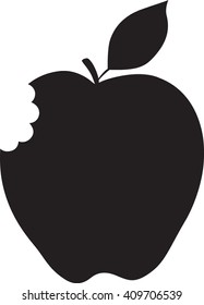 Apple With Bite, Silhouette, Black