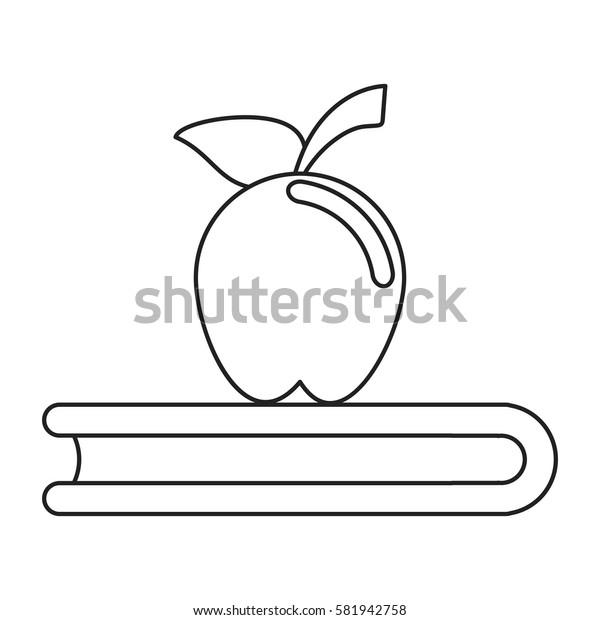 apple book school symbol thin line