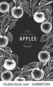 Apple branches design template. Hand drawn vector garden fruit illustration on chalk board. Engraved style fruit frame. Retro botanical banner.