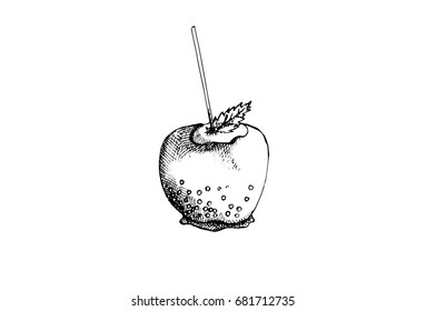 Apple in caramel, graphic hand drawn illustration isolated on white background