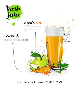 Apple Carrot Mix Cocktail Of Fresh Juice Hand Drawn Watercolor Glass On White Background Vector Illustration