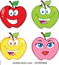 Apple Cartoon Characters. Vector Collection Set