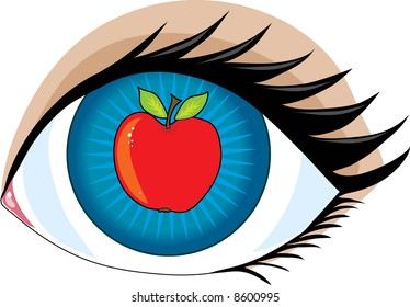 An apple in the center of an eye - the apple of my eye