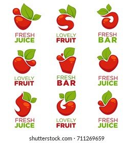 apple, cherry, fruit and fresh juice, vector collection of logo, symbols and emblems