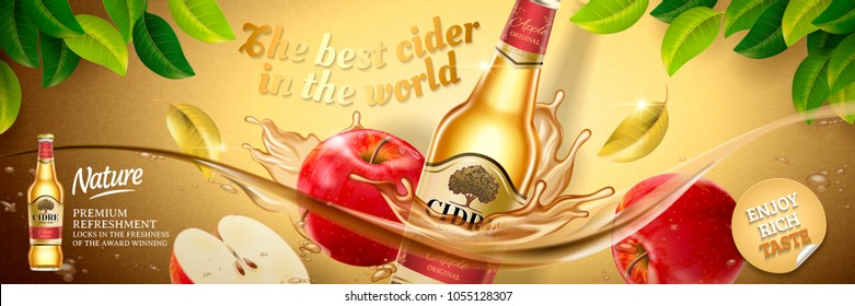 Apple cider ads, fruit beer with delicious apples floating in the liquid in 3d illustration, golden color background with green leaves
