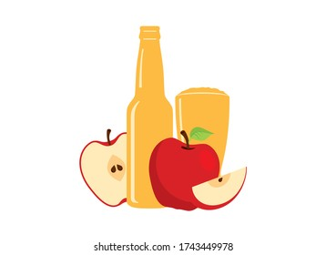 Apple cider icon vector. Fresh apple drink icon vector. Apple cider icon isolated on a white background. Glass and bottle of cider with apples vector. Apple juice icon vector