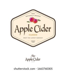 Apple Cider label. Apple beverage in hexagon frame. Some ripe pomegranate and leaves with letters.