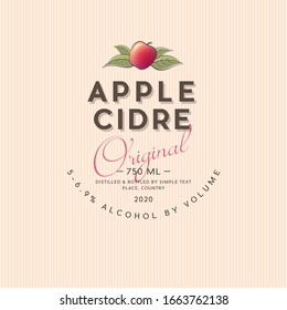 Apple Cider label. Apple beverage sticker. Ripe apple and leaves with letters.