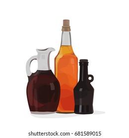 Apple cider, malt and balsamic vinegars in bottle vector condiment and spread illustration
