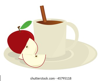 Apple cider in mug - vector version