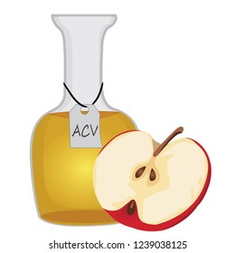 Apple cider vinegar and a half of an apple vector illustration