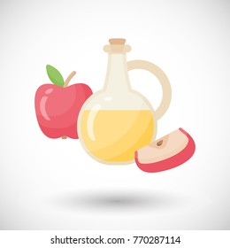 Apple cider vinegar vector flat icon, Flat design of salad dressing ingredient or organic food object with round shadow isolated on white background, cute vector illustration